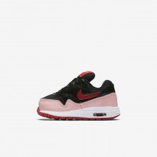 Nike Air Max 1 Lifestyle Shoes For Girls Black/Bleached Coral/Speed Red (560ILZYV)