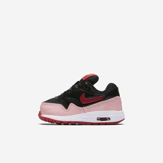 Nike Air Max 1 Lifestyle Shoes Girls Black/Bleached Coral/Speed Red (560ILZYV)
