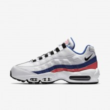Nike Air Max 95 Lifestyle Shoes For Men White/Solar Red/Ultramarine/Black (577IBWOH)