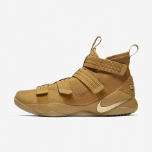 Nike LeBron Soldier XI Basketball Shoes For Women Mineral Gold/Metallic Gold (580EXVFS)