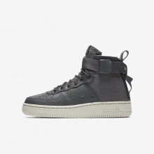 Nike SF Air Force 1 Lifestyle Shoes Boys Dark Grey/Light Bone (595DXISZ)