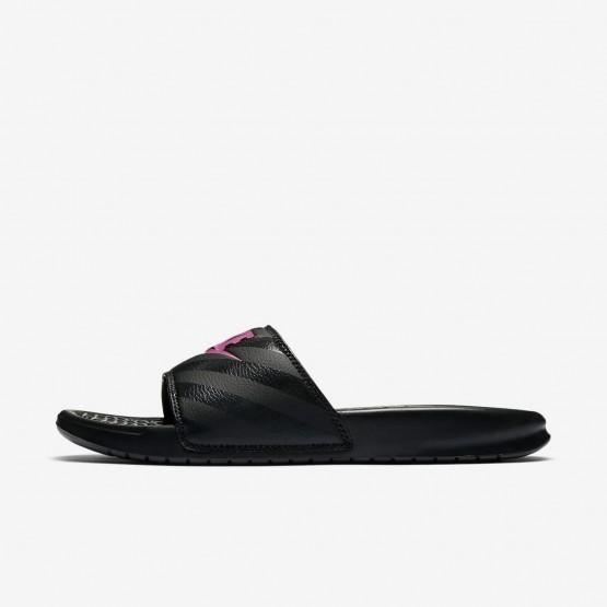 Chaussure Casual Nike Benassi Femme Noir/Rose (599ZVRPT)