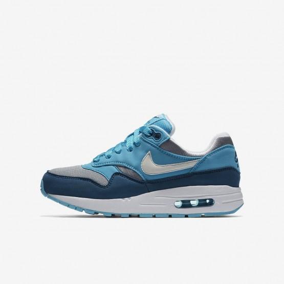 Chaussure Casual Nike Air Max 1 Garcon Grise/Bleu Clair/Bleu/Blanche (611XQGCO)