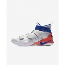 Nike LeBron Soldier XI Basketball Shoes For Women White/Infrared/Pure Platinum/Racer Blue (636YQFAK)