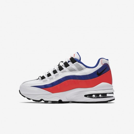 Nike Air Max 95 Lifestyle Shoes Boys White/Solar Red/Ultramarine/Black (653AKEJZ)