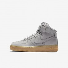 Nike Air Force 1 Lifestyle Shoes For Boys Medium Grey/Black/Gum Light Brown (654TYVNH)