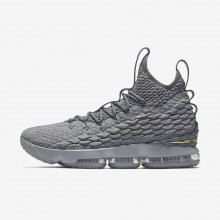 Nike LeBron 15 Basketball Shoes For Women Wolf Grey/Cool Grey/Metallic Gold (670ETPRD)