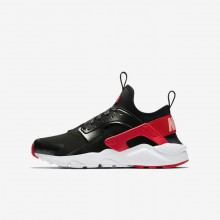 Nike Air Huarache Lifestyle Shoes For Girls Black/Bleached Coral/Speed Red (671GFPYK)