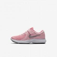 Nike Revolution 4 Hardloopschoenen Meisjes Wit/Metal Zilver (691WZUVK)