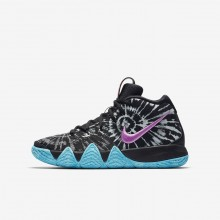 Nike Kyrie 4 Basketball Shoes Boys Black/White (706KPRWI)
