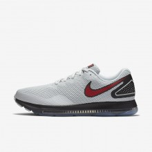 Nike Zoom All Out Running Shoes For Men Pure Platinum/Black/University Red (718BUKAL)