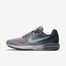 Nike Air Zoom Running Shoes Womens Provence Purple/Thunder Blue/Light Carbon/Green Glow (722MZNIR)