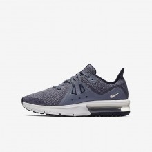 Nike Air Max Sequent Running Shoes For Boys Obsidian/Dark Obsidian/White/Metallic Dark Grey (727ODEAN)