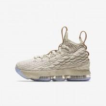 Nike LeBron 15 Basketball Shoes Boys String/Vachetta Tan/Sail (737UIMDL)