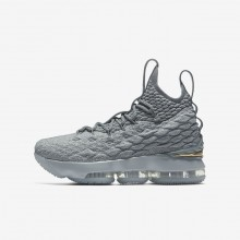 Nike LeBron 15 Basketball Shoes Boys Wolf Grey/Cool Grey/Metallic Gold (742MBNWA)