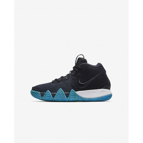 Nike Kyrie 4 Basketball Shoes For Boys Dark Obsidian/Black (744SQGIR)