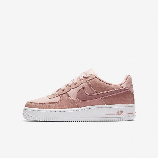 Nike Air Force 1 Lifestyle Shoes Girls Coral Stardust/White/Rust Pink (750KWAHQ)