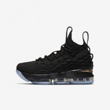 Nike LeBron 15 Basketball Shoes Boys Black/Metallic Gold (751ULEBA)