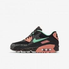 Nike Air Max 90 Lifestyle Shoes For Boys Black/Crimson Pulse/Vast Grey/Green Glow (757IOGBV)