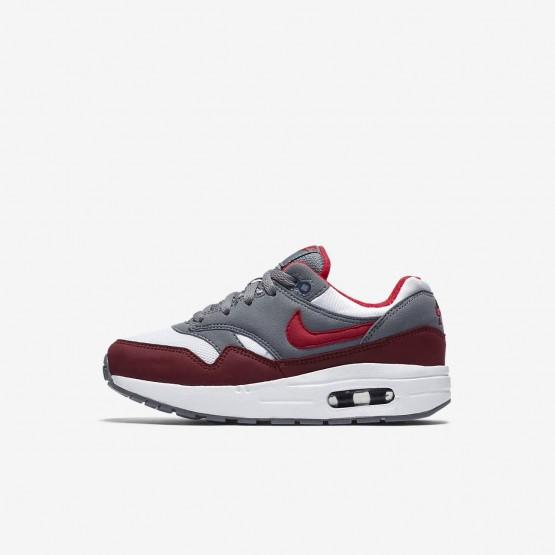 Nike Air Max 1 Lifestyle Shoes Boys White/Cool Grey/Team Red/University Red (782IFJRT)