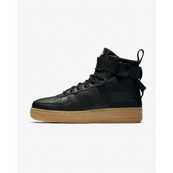 Nike SF Air Force 1 Lifestyle Shoes Womens Black/Gum Light Brown (813GZCPA)