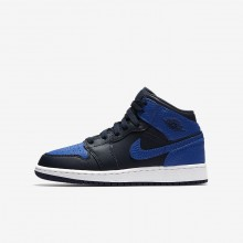 Air Jordan 1 Lifestyle Shoes Boys Obsidian/Summit White/Game Royal (820IHUNB)
