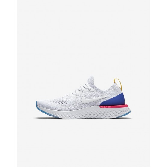 Chaussure Running Nike Epic React Flyknit Garcon Blanche/Bleu/Rose (824SKIRE)
