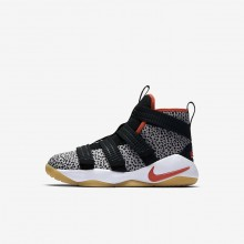Nike LeBron Soldier XI Basketball Shoes For Boys Black/White/Team Orange (835SIHET)