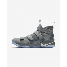 Nike LeBron Soldier XI Basketball Shoes For Women Cool Grey/Metallic Gold/Pure Platinum (846KXJNU)