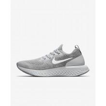 Nike Epic React Flyknit Hardloopschoenen Dames Grijs/Grijs/Platina/Wit (855PDBVX)