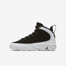 Air Jordan 9 Casual Schoenen Jongens Zwart/Wit/Metal Goud (877UZOWS)