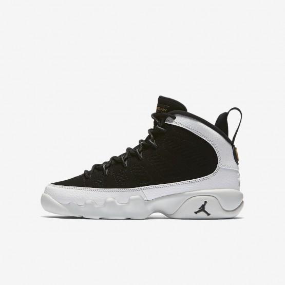 Air Jordan 9 Lifestyle Shoes Boys Black/Summit White/Metallic Gold (877UZOWS)