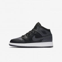 Air Jordan 1 Lifestyle Shoes Boys Black/Summit White/Dark Grey (884RTGYA)