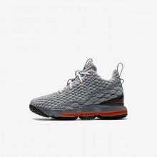 Nike LeBron 15 Basketball Shoes For Boys Black/Dark Grey/Cool Grey/Safety Orange (902UALPM)