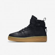 Nike SF Air Force 1 Lifestyle Shoes Boys Black/Gum Light Brown (914BNFHR)
