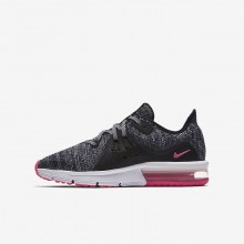 Nike Air Max Sequent Running Shoes Girls Black/Anthracite/Cool Grey/Racer Pink (927GFRBL)