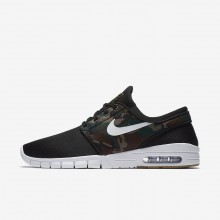 Nike SB Stefan Janoski Max Skateboarding Shoes For Men Black/Medium Olive/Gum Light Brown/White (941OUZFB)