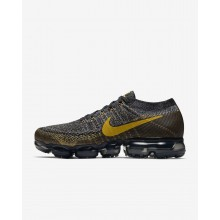 Nike Air VaporMax Running Shoes For Men Black/Dark Grey/Mineral Gold (943DFZLV)
