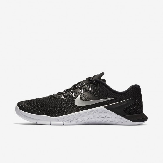 Nike Metcon 4 Training Shoes Womens Black/White/Volt Glow/Metallic Silver (944AIFPK)