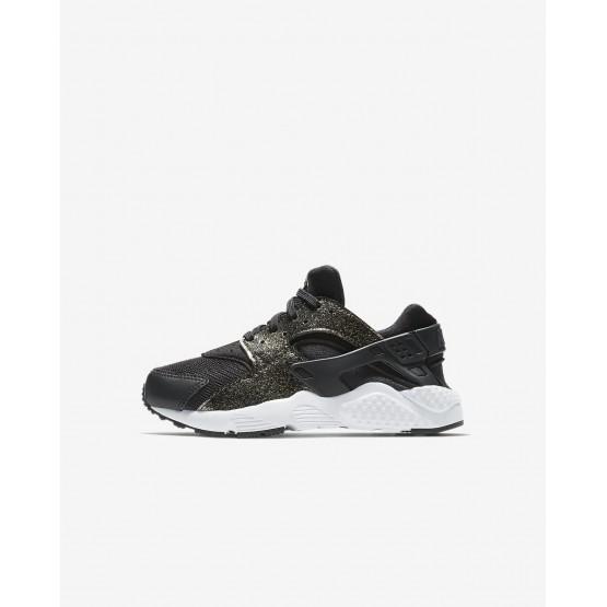 Nike Huarache Lifestyle Shoes Girls Black/Metallic Gold/White (955HMBDN)