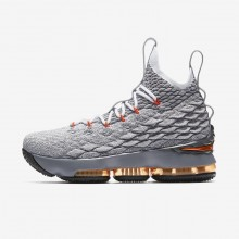 Nike LeBron 15 Basketball Shoes Boys Black/Dark Grey/Wolf Grey/Safety Orange (982GTJCX)