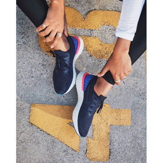 Nike Epic React Flyknit Running Shoes For Women College Navy/Racer Blue/Pink Blast (986HSVED)
